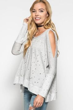 French Terry Distressed Cold Shoulder Top