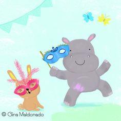 Gina Lorena Maldonado - Hippo And Rabbit Wearing Mask - GM