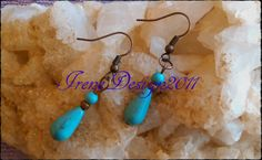 Beautiful Handmade Copper Hook Earrings with Turquoise & Turquoise Drop Turquoise belong to the Throat Chakra. Turquoise is a sacred gemstone and have been used in this way for thousand of year…