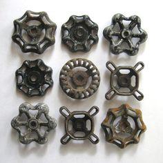 9 vintage faucet handles, valve handles, rustic water knobs, spigot knobs, industrial, variety, black and rusty, metal spigot handles, 237Z