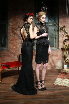 beautiful black lace dresses with feather details around the waist {alice + olivia fall 2013}