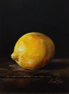 SOLD. New Painting from Nina R.Aide Studio- Still Life with Lemon- Original Oil Painting by Nina R.Aide- Available on Etsy. Linen 7x5 inches