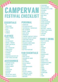 Festival Checklist - Lizzie Living. List for camping. Campervans.