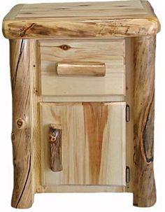Aspen Log Night Stand With Door and Drawer - Flat Front
