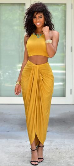 •• Shades of Yellow •• Yellow | Dandelion | Crop Top | Skirt Set | Summer Outfit Two Pieces, Two Piece Skirt Set, Sexy, Skirts, Black, Dresses, Beauty, Fashion, Elegant Woman