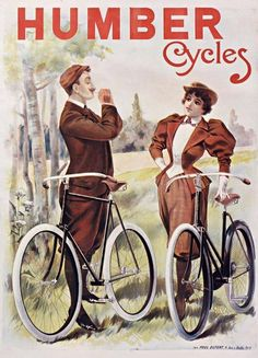 French transportation cycles poster features a couple in a field with their bikes stopped for the man to light a cigarette. The beautiful Vintage Poster Reproduction is perfect for an office or living room. Humber Cycles poster by Pal. Velo Retro, Velo Vintage, Vintage Cycles, Vintage Bikes, Bicycle Illustration, Illustration Photo, Illustrations, Retro Poster, Vintage Posters
