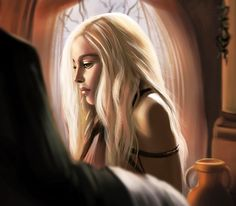 Daenerys Targaryen from Game of Thrones digital art by Patricia Kulczewski from France Game Of Throne Daenerys, The North Remembers, Game Of Thrones Art, Violet Eyes, Great Tv Shows, Mother Of Dragons, Character Inspiration, Daenerys Targaryen, Art Gallery