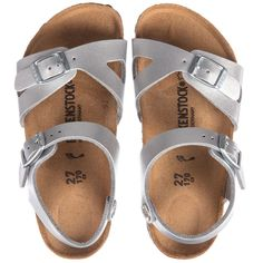 21c1bd49ee885a Birkenstock Girls Silver Rio Sandals at Childrensalon.com Kids Online