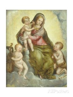 Madonna with Child, Little Saint John and Angel Giclee Print by Livio (Ricciutello) Agresti at AllPosters.com