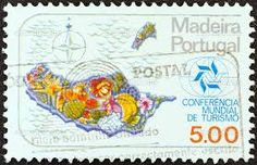 Madeira, Portugal stamp - 1980 for a World Tourism Conference. Now I want to fly over Madeira to see the giant bunch of bananas.