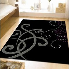 Grey Rug Art Deco Black Cream Purple 230x160cm Modern