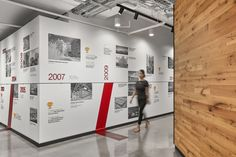 ZGF Architects were engaged by general contractor Hensel Phelps, to design their offices located in McLean, Virginia. Hensel Phelps—a national Environmental Graphic Design, Environmental Graphics, Office Timeline, Office Graphics, Construction Firm, Office Branding, Timeline Infographic, Timeline Design, Ideas