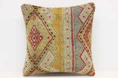 Handwoven Kilim Pillow Cover 16 x 16 Ottoman by kilimwarehouse