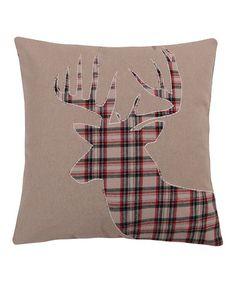 Look at this #zulilyfind! White Plaid Deer Faux Fur-Trim Pillow #zulilyfinds