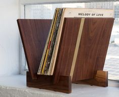 Flip Tabletop Handcrafted Vinyl Record Storage - Solid American Walnut & Brass