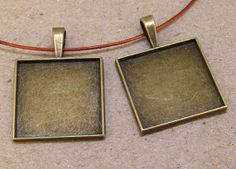 Cabochon setting square pendant Base link antique by dongstones, $1.95