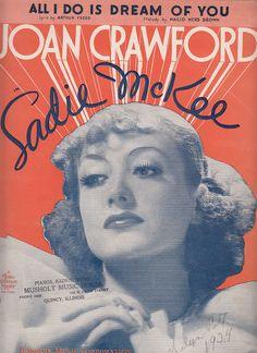 All I Do Is Dream of You 1934 Sheet Music Joan Crawford in Sadie McKee
