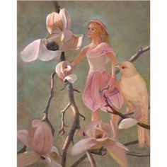 """Purchase a New Art Print, Kind Enchantments Fairy Series #06 """"Elena, Magnolia Fairy"""" 8x10 inches from an oil painting by Nancy Lee Moran, Imaginative Realism Fantasy Art by Nancy Lee Moran ~ Each spring, a fairy arrives with the blooming of the magnolia tree, which is her patron tree. She is entrusted with protecting the songbirds of our country neighborhood. Nancy designed her clothing on a 14-inch doll, using real magnolia petals. $45.00"""