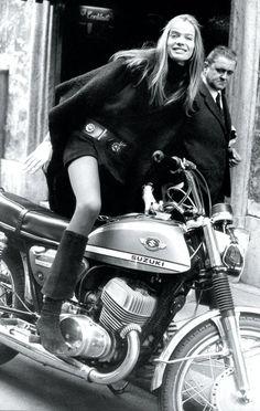 Veruschka on a Suzuki. The other Girl on a Motorcycle.