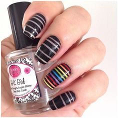 Edgy neon triangle nails by using 'That's Shore Bright' and 'Red-y To Rave' Love Nails, Pretty Nails, Striped Nails, Nail Stripes, Triangle Nails, Nail Pictures, Salon Style, Cute Nail Art, Nail Tutorials