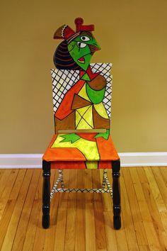 Picasso Femme Assise Dans Un 2 upcycled Chaire peint par l'artiste Todd Fendos