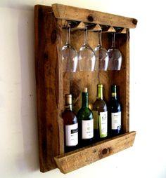 Wine Bottle Rack / Wine Rack / Wine Glass Holder / Wine Glass Rack Rustic Reclaimed Barn Wood. $89.00, via Etsy.