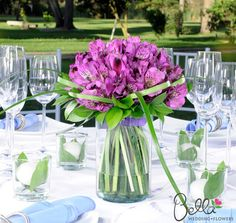 purple and green mum centerpieces | Purple peruvian lilies make vibrant and bold wedding flowers. Also ...