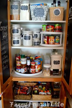 Fancy Frugal Life: Pantry #2 (Organizing with thrift store items and chalkboard vinyl)
