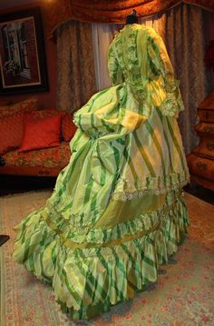 """Acid Apple Green 1872 Paris Gown Museum Deaccession Knockout 
