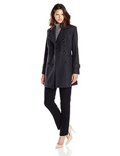 """Double breasted city wool pea coat with convertible lapel and vertical shaping seams       Famous Words of Inspiration...""""Action may not always bring happiness; but there is no happiness without action.""""   Benjamin Disraeli — Click here for...  More details at https://jackets-lovers.bestselleroutlets.com/ladies-coats-jackets-vests/wool-pea-coats/product-review-for-anne-klein-womens-classic-double-breasted-coat/"""