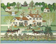 Fox Hill Farm by Charles Wysocki 1982 (can be found American Celebration page 109, detail on page 121)AMCAL(c) [have a tile with this image, also a counted cross stitch by Dimension: My Hometown Book One, 1985, completed 1987 for daughter Alicia] cal:MAY 2006; cover cal: 2013; cal: JUN 2013