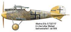 Albatros D.Va  Unit: Seefrontstaffel 1  Serial: D.7327/17  Pilot - Lt.z.See Lothar Weiland of Seefrontstaffel (Seefrosta) 1 in summer 1918.