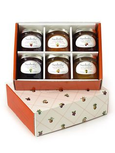 A sampler of six, four-ounce jars of sublime jams including some of our favorites: Orange Apricot Marmalade, Pineapple Mango, and Plum Cherry. Gift Sampler Box, $28, Sarabeth's Kitchen.