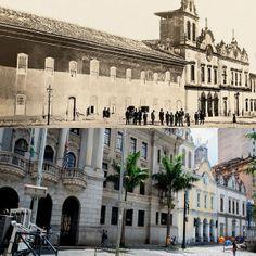 Foto comparativa: Largo São Francisco em 1862 (foto de Militão Augusto de Azevedo) e em 2014 (foto de Flavio Moraes).