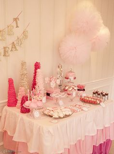 Nutcracker Ballet theme party.  Love the pink tablecloth