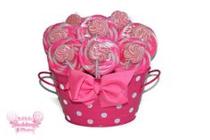 Pink lollipop arrangement, pink candy arrangement, pink candy buffet, pink, candy, lollipop, baby shower, its a girl, baby girl, OOAK, gift on Etsy, $39.99