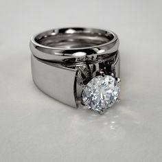Modern Solitaire Diamond Wedding Set in 14k White Gold