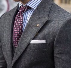 Grey, double breast with Bengal striped shirt.
