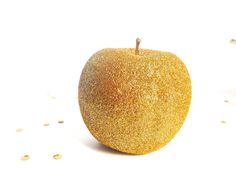2 Gold Glitter Apples. Valentines Day table decor Weddings, Birthdays Glittered Fruit Party decorations Be Mine Table Setting READY TO SHIP