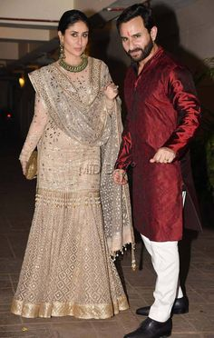 Gharara designs - Karisma Kapoor visited her sister Kareena Kapoor Khan and Saif Ali Khan at their residence for Diwali We have pictures Pakistani Wedding Outfits, Pakistani Dresses, Indian Dresses, Indian Outfits, Gharara Designs, Kurta Designs, Indian Attire, Indian Wear, Look 2018
