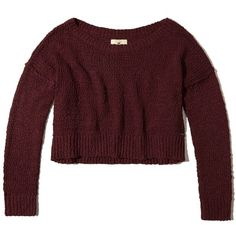 Hollister Slouchy Crop Sweater ($16) ❤ liked on Polyvore featuring tops, sweaters, burgundy, red cropped sweater, red crop top, slouchy sweater, cropped sweater and off the shoulder sweater