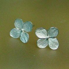 Small Hydrangea Earrings, Silver Flower Earrings, Stud Earring, Post Earrings, Made to order. $81.00, via Etsy.