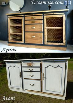 Here is a makeover of the extreme for this sideboard buffet in bistro style, perfect . Renovations, Furniture Makeover, Refurbished Furniture, Diy Déco, Diy Furniture, Bistro Style, Furniture Inspiration, Industrial Decor, Home Deco