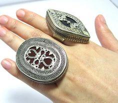 FREE SHIP Vintage Tribal Carnelian Aqeeq Stone Statement Ring,Uzbek Kazakh Jewelry,Metal Carving
