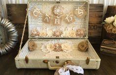 Vintage Suitcase Wedding Card Holder Shabby Chic Wedding Rustic Country Wedding by RusticGlamDesigns on Etsy