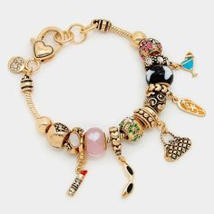 "Multi Bead Sunglasses/Tote Handbag Charm Bracelet Style No : [291256] • Color : Antique Gold, Multi • Theme : Bag  • Size : 7.5"" + 0.5"" L, 1.25"" L • Multi-Bead Sunglasses & Tote Handbag Charm Bracelet Jewelry Bracelets"