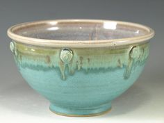 Handmade stoneware pottery bowl aqua turquoise  A Turquoise and S Tx Hot Chowder?