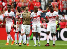 Switzerland players celebrate their 1-0 win in the UEFA EURO 2016 Group A match between Albania and Switzerland at Stade Bollaert-Delelis on June 11, 2016 in Lens, France.