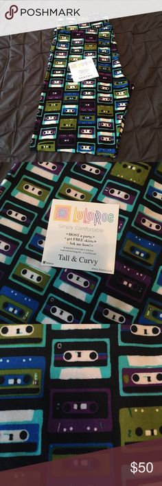 Tall and Curvy LulaRoe Leggings Cassette tape print leggings. New, never been worn. Hard to find print! Make an offer. LuLaRoe Other