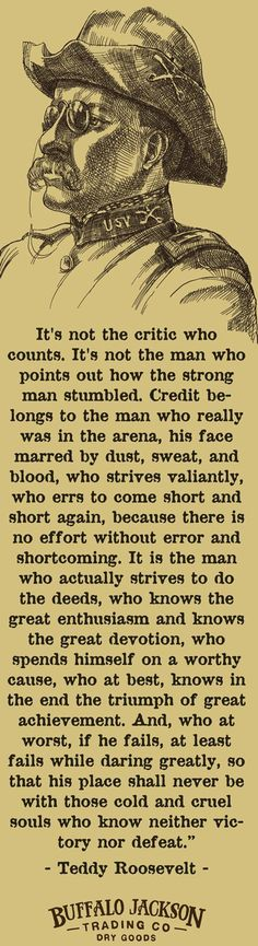 "Teddy Roosevelt Not the Critic Who Counts Quote, some people call this the ""man in the area"" quote."